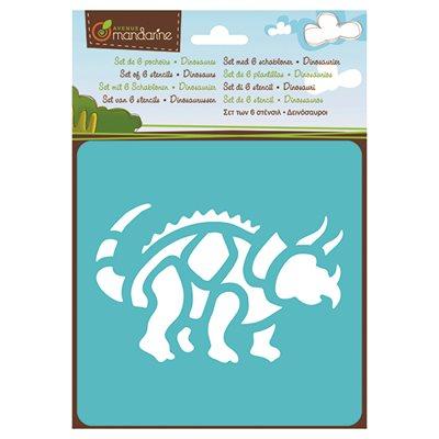 6 Pochoirs assortis Dinosaures
