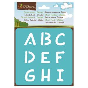 6 Assorted Stencils Alphabet