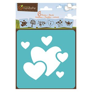 6 Assorted Stencils Hearts