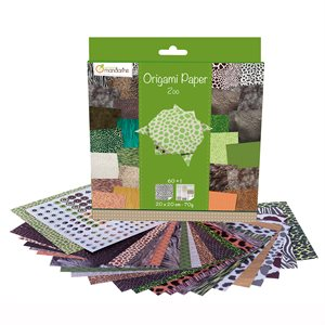 Papier Origami 60 fls assorties Zoo