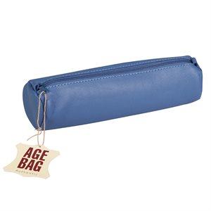 Trousse à crayons ronde en cuir Bleu