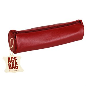 Round Leather Pencil Case Red